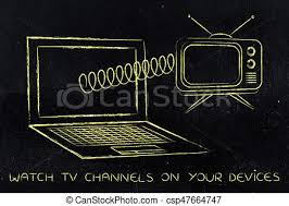 Retro Tv Online Laptop With Retro Style Television Popping Out On A Spring
