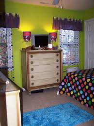 bedroom lime green and purple bedroom showing green wall theme and purple table lamps on