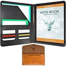 Wundermax Padfolio Portfolio/ Executive Leather Padfolio - Bonus Wallet,  Bookmark & Notebook - Professional