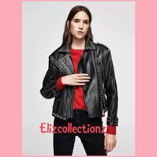 details about limited edition mango black stud fringe faux leather biker jacket size m rpp 150