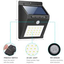 Eco Night Light Sensor Solar Light 20 Led Bright Outdoor Security Lights With Motion Sensor Wireless Waterproof Night Lighting Solar Powered Spotlight For Wall Path Patio