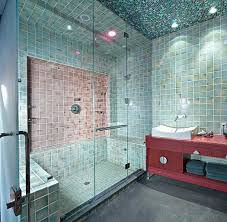 frameless glass shower doors hand glazed tiles mosaic glass ceiling steam transom over door towel bar