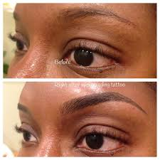 before and after microblading which is a manual tattoo technique for semi permanent makeup eyebrows very natural when healed and lasts up to 18 months
