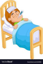 Cartoon Sick girl in bed Royalty Free Vector Image