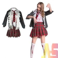 girls zombie school girl costume uniform scary dead fancy dress outfit