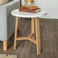 End Tables Modern Round End Tables White Faux Marble Light Oak