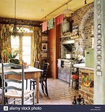 Kitchen Brick Floor Country Kitchen With Hexagonal Floor Tiles And Exposed Brick In