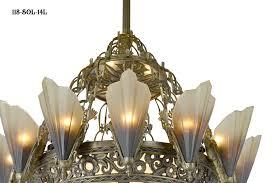 vintage hardware lighting 36 1 2 large art deco chandelier 14 light soleure slip shade chandelier original kenk design 118 sol 14l