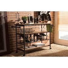 Rustic Industrial Kitchen Baxton Studio Alera Rustic Industrial Mobile Serving Bar Cart