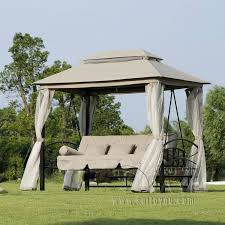 outdoor 3 person patio daybed canopy gazebo swing tan w mesh walls swings