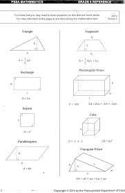 98 Pssa Grade 8 Formula Sheet Formula Grade Pssa 8 Sheet