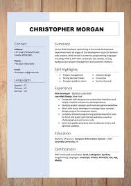 Examples Of A Modern Resume Cv Resume Templates Examples Doc Word Download