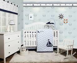 navy white nautical sailboat 6 pc crib