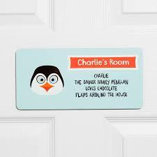 penguin children s bedroom sign