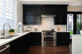 kitchen white cabinets black countertops photo 3