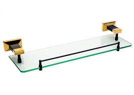 gold modern glass shelf wall mount toothbrush holder bathroom accessories