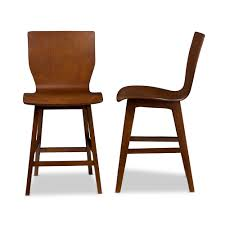 bar stools baxton studio elsa scandinavian style dark walnut bent wood counter stool danish orange funky with backs dining chairs leather originality