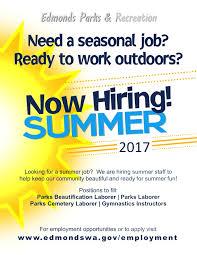 Summer Seasonal Jobs Edmonds Parks Hiring Summer Help My Edmonds News