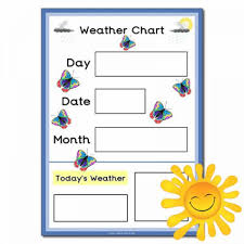 Day Date Weather Chart Weather Chart A3 Poster With Butterflies Happy Learners