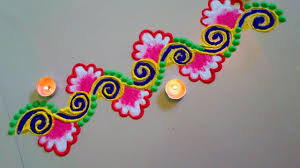 Side Rangoli Designs For Diwali Beautiful Flower Type Rangoli Border Design Rangoli Border