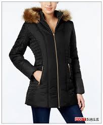 hot 2018 black coats 82 celebrity pink faux fur trim hooded puffer coat juniors clothing
