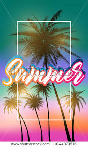 palm trees tumblr vintage. Summer California Tumblr Backgrounds Set With Palms, Sky And Sunset. Placard Poster Flyer Palm Trees Vintage