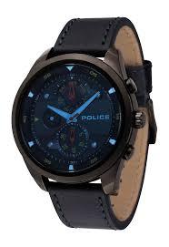 police men watch marine pl 14836jsu 02 black leather strap and original police mens watch marine black and blue