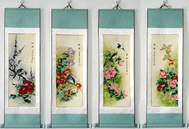 mounted on a silk hanging scroll