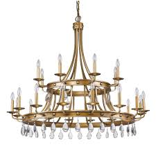 acclaim lighting krista 24 light indoor antique gold chandelier with crystal pendants
