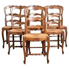 oak ladder back chairs set of 6 french oak ladder back chairs with rush seats vintage
