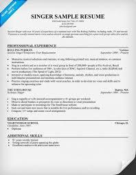 singer resume sample resume cv cover letter