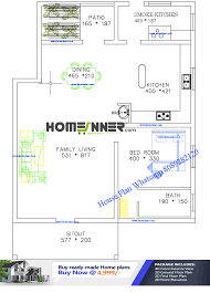 free 1200 sq ft single bedroom house plan
