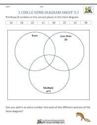 3 Circle Venn Diagram Worksheets