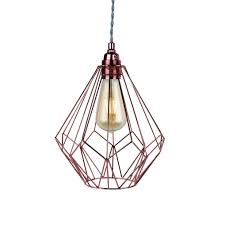 copper wire geometric non electrified cage pendant shade only