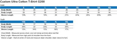 Gildan G200 Size Chart Sizing Chart Teeangels Com Online Merchandise Store