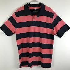 ll bean mens xl tall navy salmon striped short sleeve polo rugby shirt