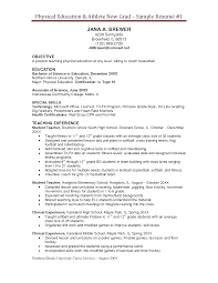Physical Education Resume Objective Physical Education Sample