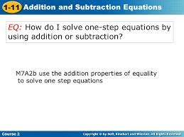 eq how do i solve one step equations by using addition or subtraction