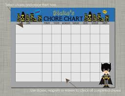 Chore Sticker Chart Printable Personalized Kids Chore Reward Chart Printable Sized 8 5 X 11 Bat Kid Design