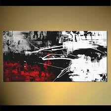 modern 48 x 24 abstract painting black white red acrylic painting red black white paintings