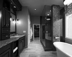 bathroom: Prestigious Black White Bathroom At Modern Bathroom Decor  Installed In Tiled Flooring And Illuminated