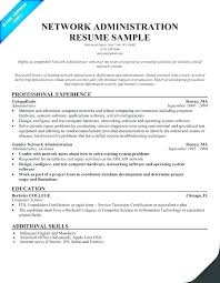 Network Administration Resume