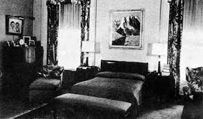 living room with bed: the room as eisenhowers occasional bedroom around  looking south upstairs at the white house