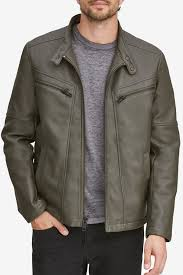 image of andrew marc corbett removable knit hood faux leather jacket