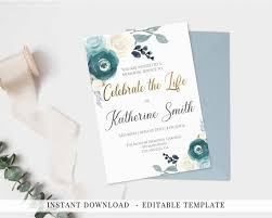 Memorial Service Invitation Template Impressive Invitation Celebration Of Life Printable Memorial Service Etsy
