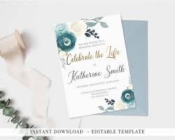 Memorial Service Invitation Template Impressive Invitation Celebration Of Life Printable Memorial Service Etsy