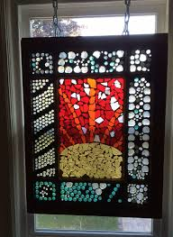 diy stained glass mosaic on an old salvaged window