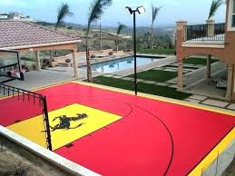 at home basketball court outdoor backyard multi sport contemporary landscape used tiles homemade cou