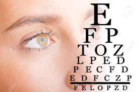Close Up Of A Young Woman Face With An Eye Chart Focusing On