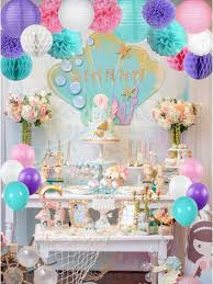 mermaid unicorn pastel party supplies decorations set for birthday party wall decorations at jolly chic